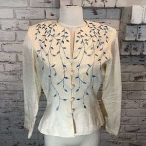 Papell cream Silk jacket blue Embroidery and beads